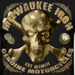 Milwaukee iron skull vintage motorcycle t-shirt - Men's T-Shirt
