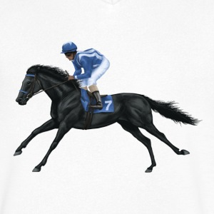 Black Racehorse T-Shirts - Men's V-Neck T-Shirt