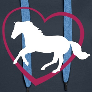 Galloping Horse with Heart Sweaters - Vrouwen Premium hoodie