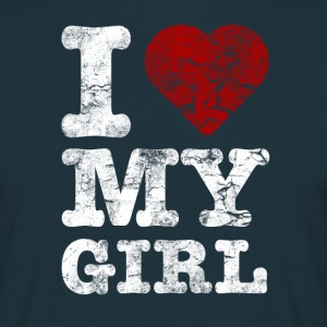 I Love my GIRL vintage light T-shirts - Mannen T-shirt