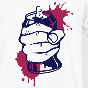 a hand crushing a soda can T-Shirts - Men's V-Neck T-Shirt