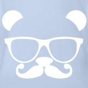 Nerd Panda with Glasses Shirts - Organic Short-sleeved Baby Bodysuit