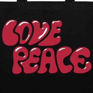 Love Peace seventies 70s retro style flower power Sacs - Tote Bag