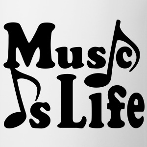 Music is Life. Muziek noten. Muziek muzikant.  Flessen & bekers - Mok
