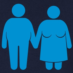 fat couple T-shirts - T-shirt med v-ringning herr
