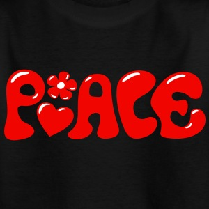 3-D Peace. Hart en bloem - Love & Happiness Shirts - Kinderen T-shirt