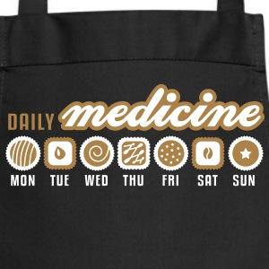 Black Daily medicine of chocolate  Aprons - Cooking Apron