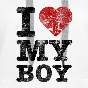I Love my Boy vintage dark Sweat-shirts - Sweat-shirt à capuche Premium pour femmes