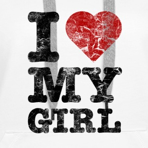 I Love my Girl vintage dark Sweat-shirts - Sweat-shirt à capuche Premium pour femmes