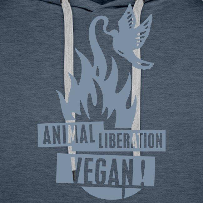 Mens Hoodie 'animal liberation vegan' SILVER