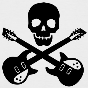 Skull Guitar T-Shirts - Men's Baseball T-Shirt