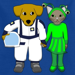 space dog and alien cat Shirts - Kinderen T-shirt