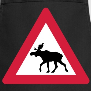 Warning Moose Sign  Aprons - Cooking Apron
