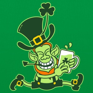 Green Leprechaun Running with Beer Bags  - Tote Bag