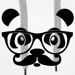 nerd panda with moustache and glasses Sweat-shirts - Sweat-shirt à capuche Premium pour femmes