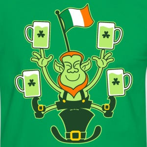 Leprechaun Juggling Beers and Irish Flag T-Shirts - Men's Ringer Shirt