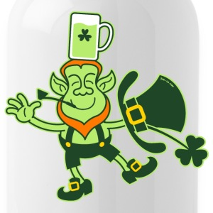 Leprechaun Balancing a Glass of Beer on his Head B - Water Bottle
