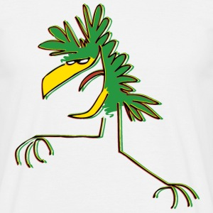 White Dancing Green Cartoon Bird by Cheerful Madness!! online shop Men's Tees - Men's T-Shirt
