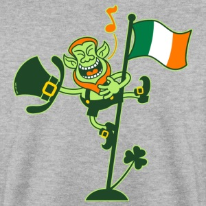 Leprechaun Singing on an Irish Flag Pole Hoodies & - Men's Sweatshirt