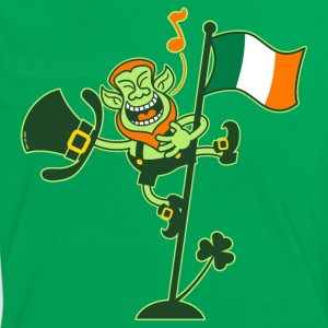 Leprechaun Singing on an Irish Flag Pole T-Shirts - Women's Ringer T-Shirt