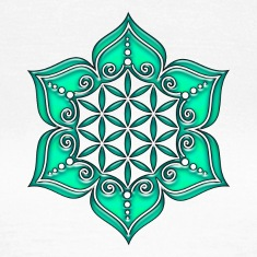 Flower of life, Lotus - Flower, Heart Chakra, green, Symbol of perfection and  T-skjorter