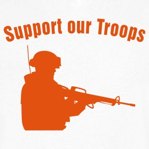 Support our Troops / soldier T-skjorter - T-skjorte med V-utsnitt for menn