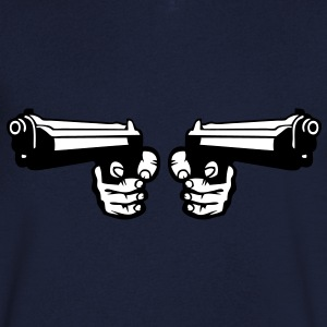 pistolet flingue revolver arme double Tee shirts - T-shirt Homme col V