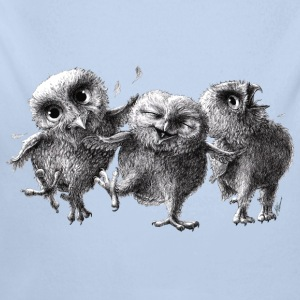 three crazy owls - Body ecologico per neonato a manica lunga