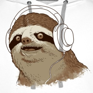 White Sloth with headphones Hoodies & Sweatshirts - Men's Premium Hoodie