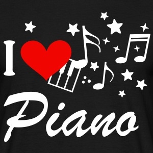 I love piano music * keyboard Music notes T-Shirts - Men's T-Shirt