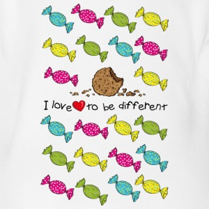 I love to be different- cookie T-shirts - Ekologisk kortärmad babybody