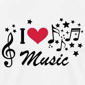 I love Music * muziek Treble Clef Heart ster T-shirts - Mannen Premium T-shirt