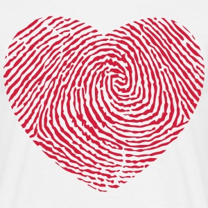Fingerprint hjerte  T-shirts - Herre-T-shirt
