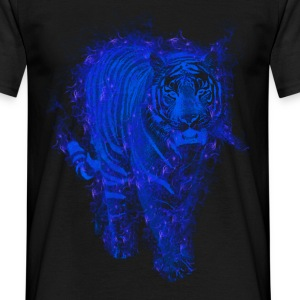 Tiger in blue fire T-shirts - T-shirt herr