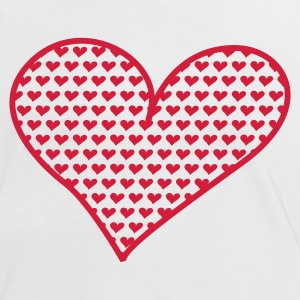 Wit/rood Big and Small Hearts T-shirts - Vrouwen contrastshirt