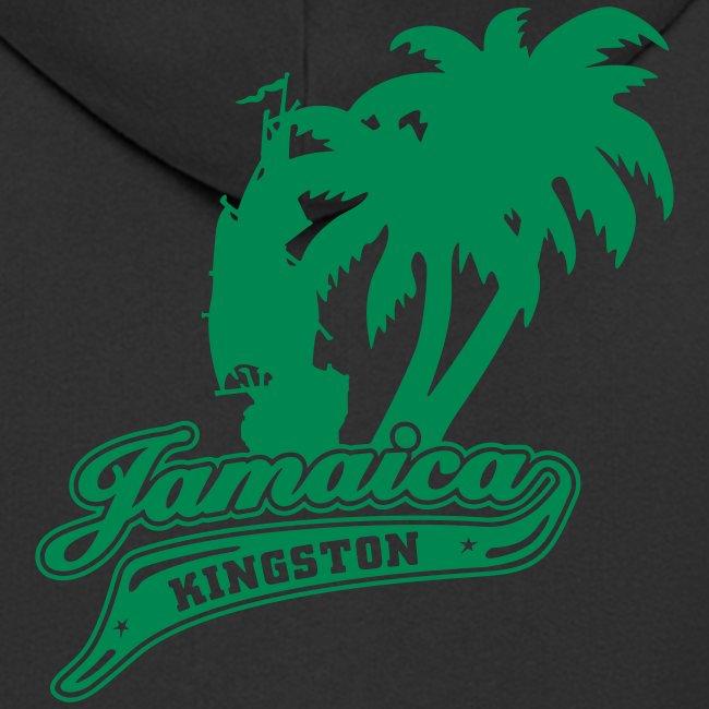 schw. Jamaica-Kaputzenjacke gelb-gruener Druck auf Ärmel u. Rücken