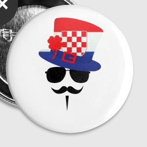 Croatia go Moustache Buttons / merkelapper - Stor pin 56 mm