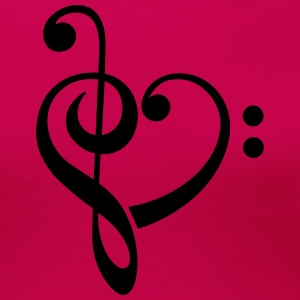 Bass clef heart, treble clef, music lover Tee shirts - T-shirt Premium Femme