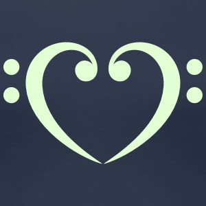 Bass Clef Heart - Glow in the Dark! T-skjorter - Premium T-skjorte for kvinner