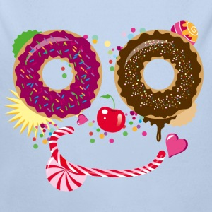 Sweet face with donuts and candy cane Hoodies - Longlseeve Baby Bodysuit