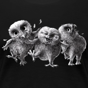 three crazy owls - Dame premium T-shirt