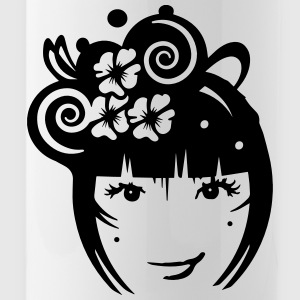 Girl with hair jewelry and flowers Bottles & Mugs - Water Bottle