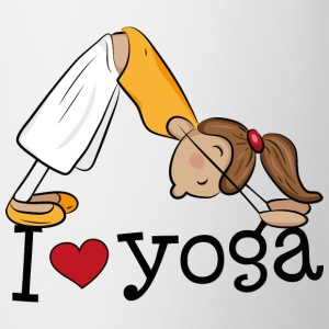 I love yoga - Girl practicing the dog Butelki i kubki - Kubek