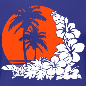 palm sunset ocean T-Shirts - Frauen Premium T-Shirt