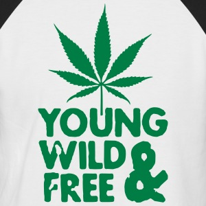 young wild and free weed leaf T-shirts - Mannen baseballshirt korte mouw