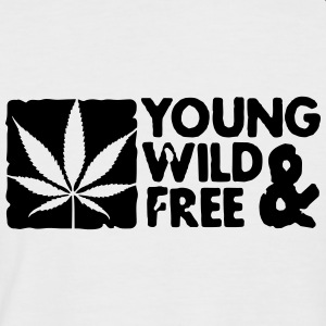 young wild and free weed leaf boxed T-Shirts - Men's Baseball T-Shirt