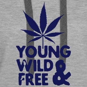 young wild and free weed leaf Sweat-shirts - Sweat-shirt à capuche Premium pour femmes