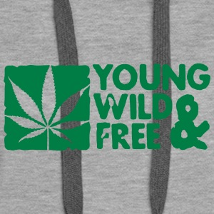 young wild and free weed leaf boxed Pullover & Hoodies - Frauen Premium Hoodie