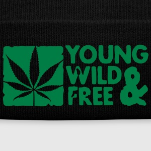 young wild and free weed leaf boxed Casquettes et bonnets - Bonnet d'hiver