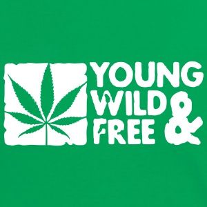young wild and free weed leaf boxed T-Shirts - Women's Ringer T-Shirt